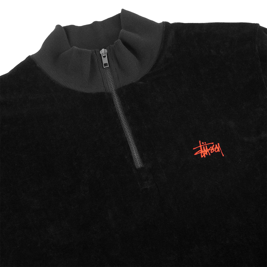 Stussy Velour L/S Zip Mock in Black - Detail