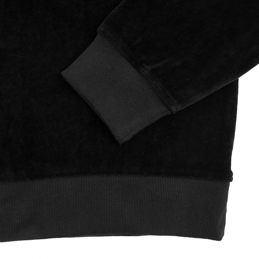 Stussy Velour L/S Zip Mock in Black - Waist