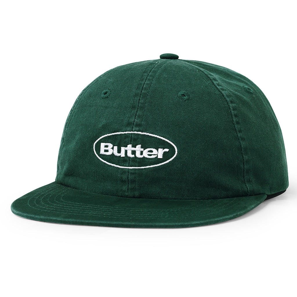 Butter Goods Washed Badge 6 Panel Cap in Forest