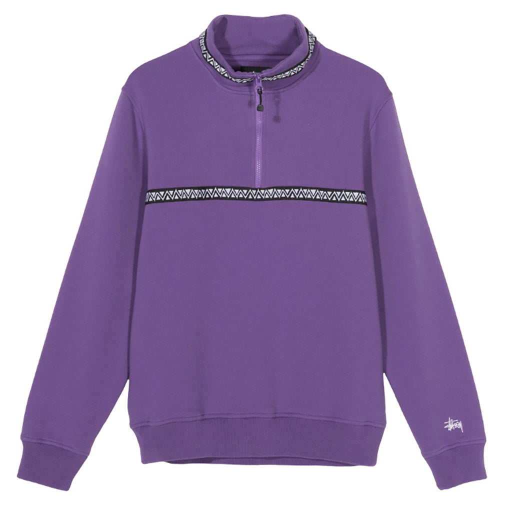 Stussy Woven Tape Mock Neck Sweatshirt in Purple