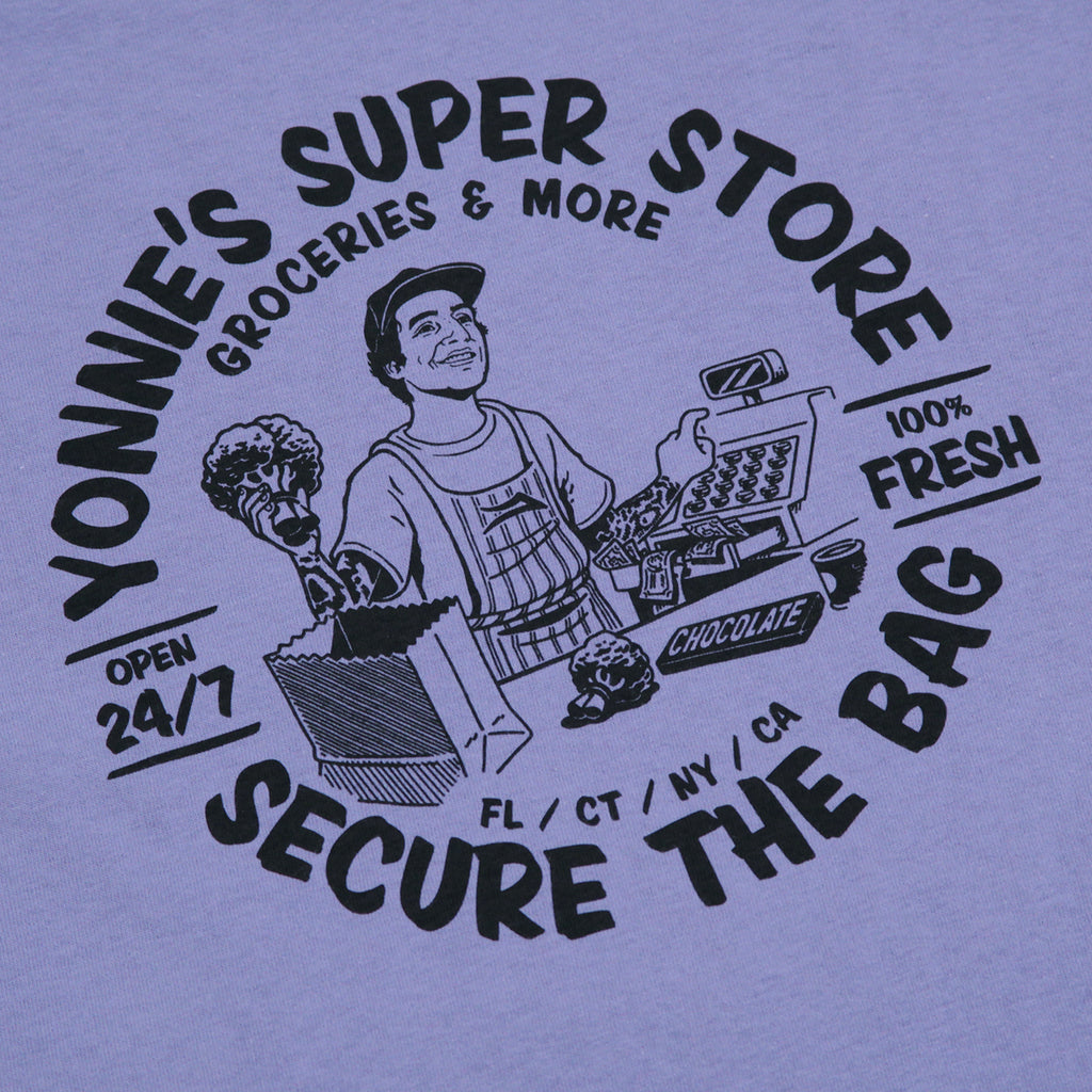 Lakai Yonnies Super Store T Shirt in Lilac - Back Print