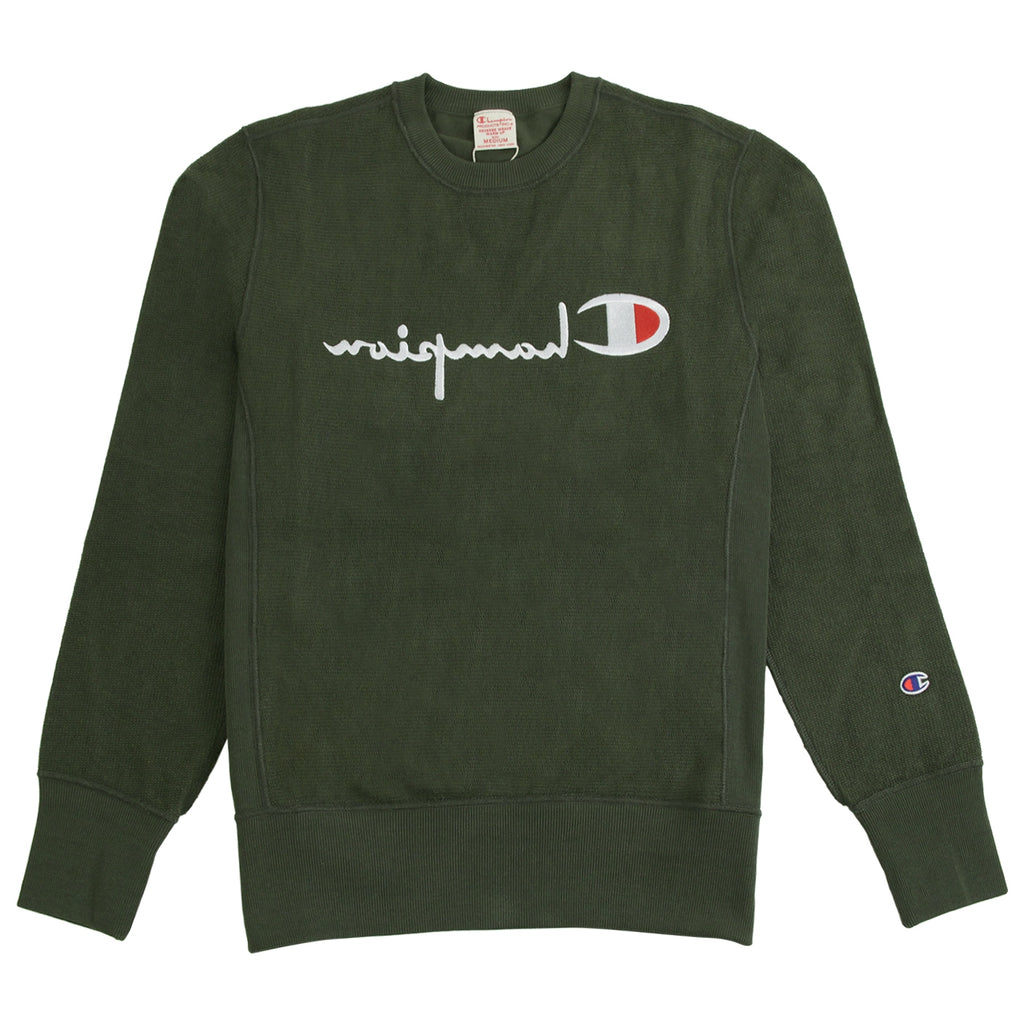 Champion Reverse Weave Reversed Crew Sweatshirt in Dark Olive