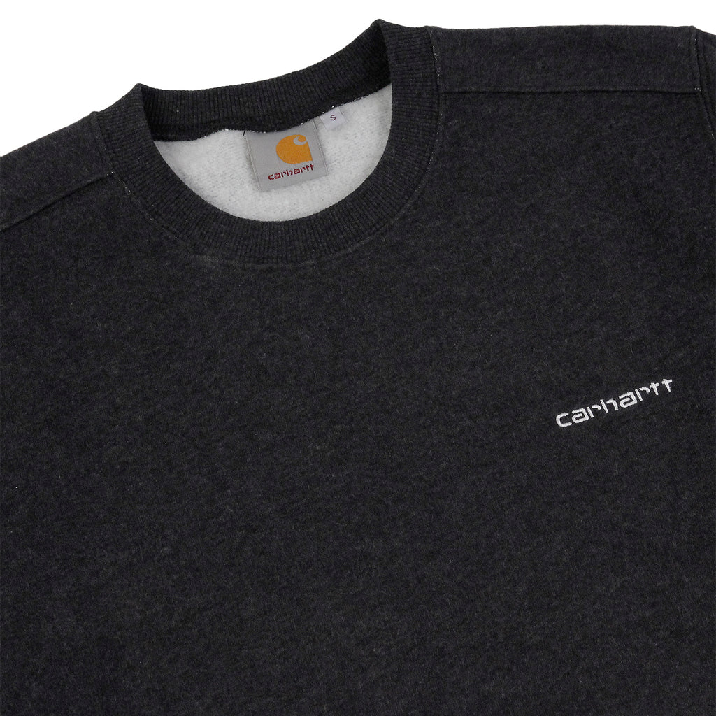 Carhartt Script Embroidery Sweat in Black Heather / White - Detail