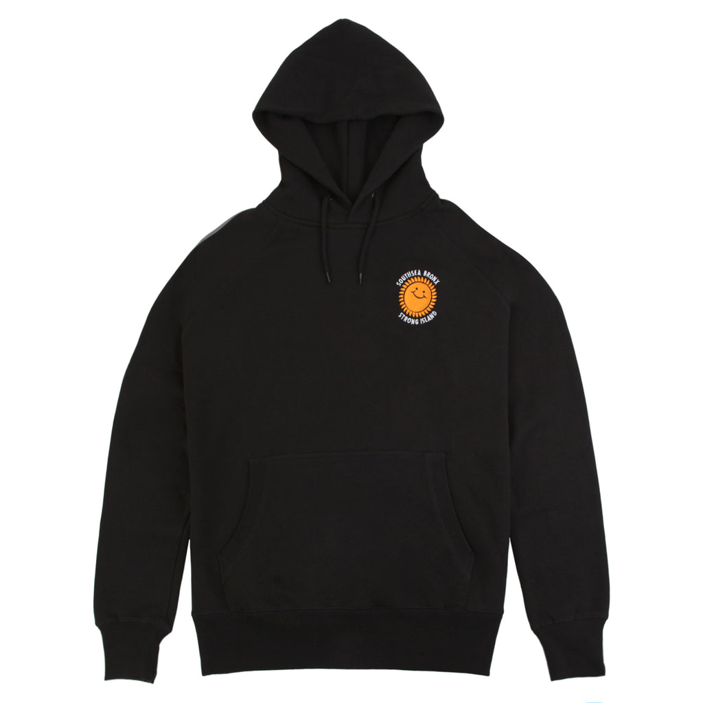 Southsea Bronx Strong Island Embroidered Hoodie in Black