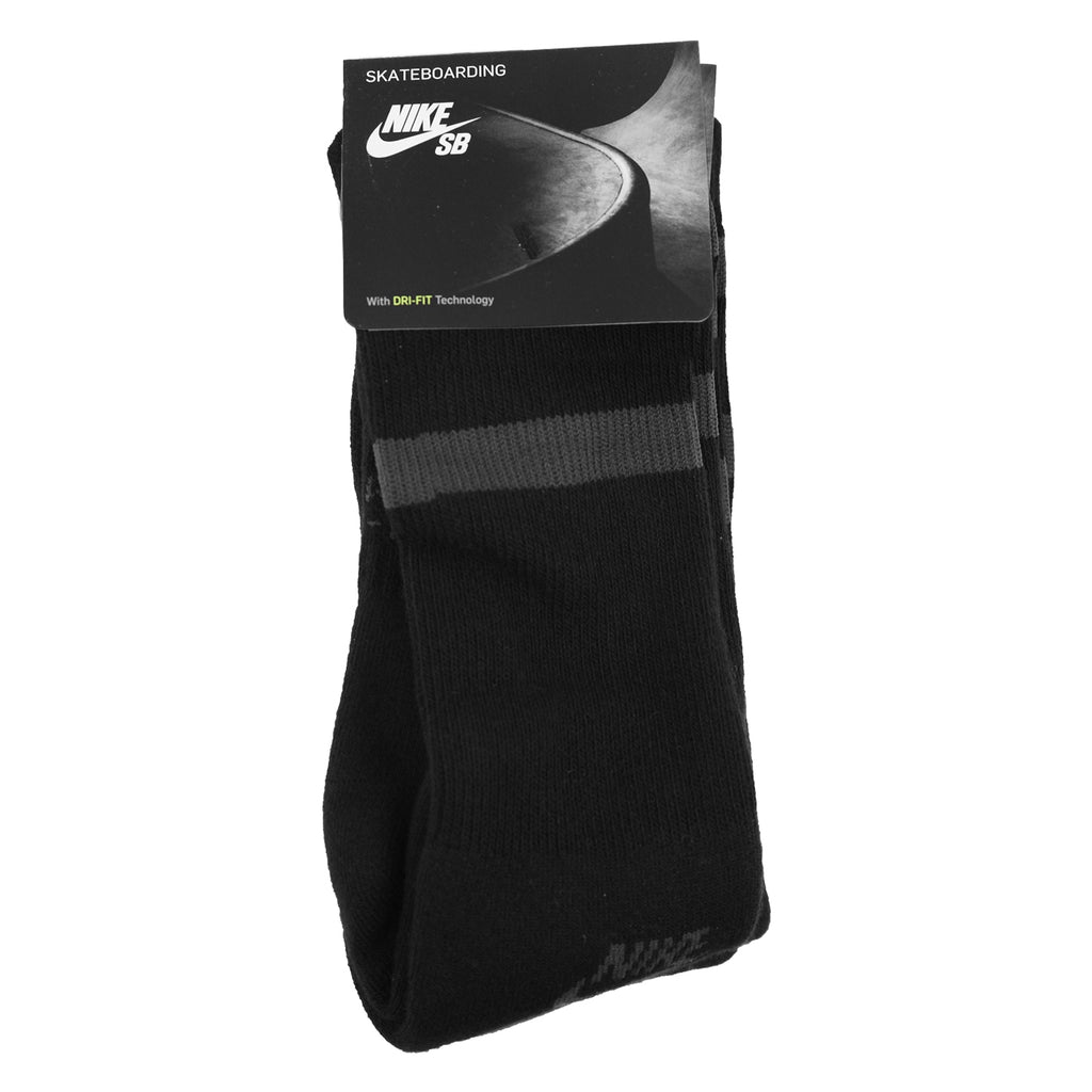 Nike SB 3 Pack Unisex Crew Skateboarding Socks in Black / Anthracite - Packed