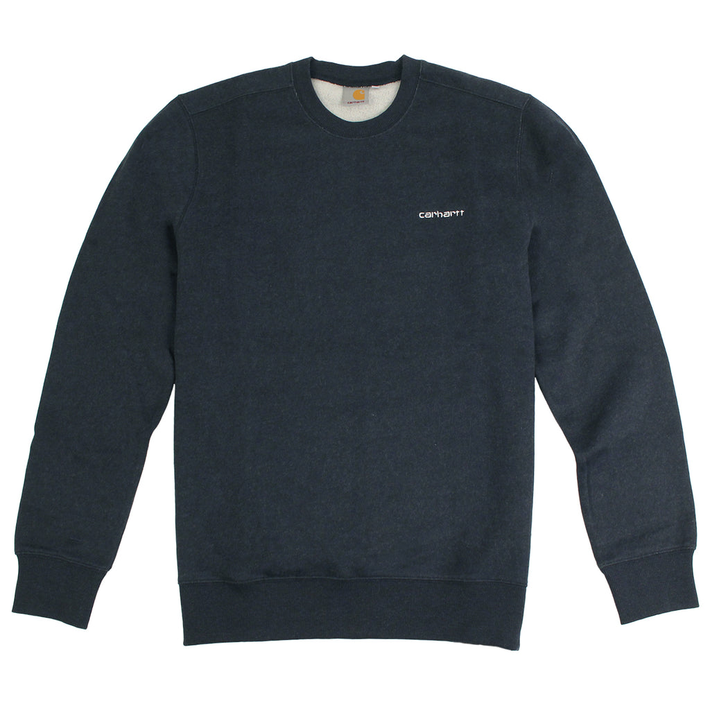 Carhartt WIP Script Embroidery Sweat in Navy Heather / White