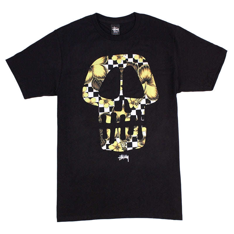 Stussy Flower Check Skull T Shirt in Black
