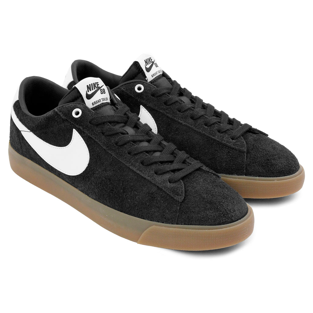 Nike SB Blazer Low Grant Taylor Shoes in Black / White - Metallic Gold - Paired