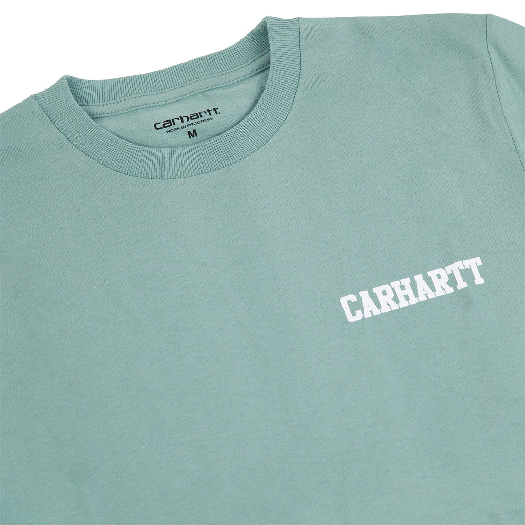 Carhartt College Script T Shirt in Soft Green / White - Detail