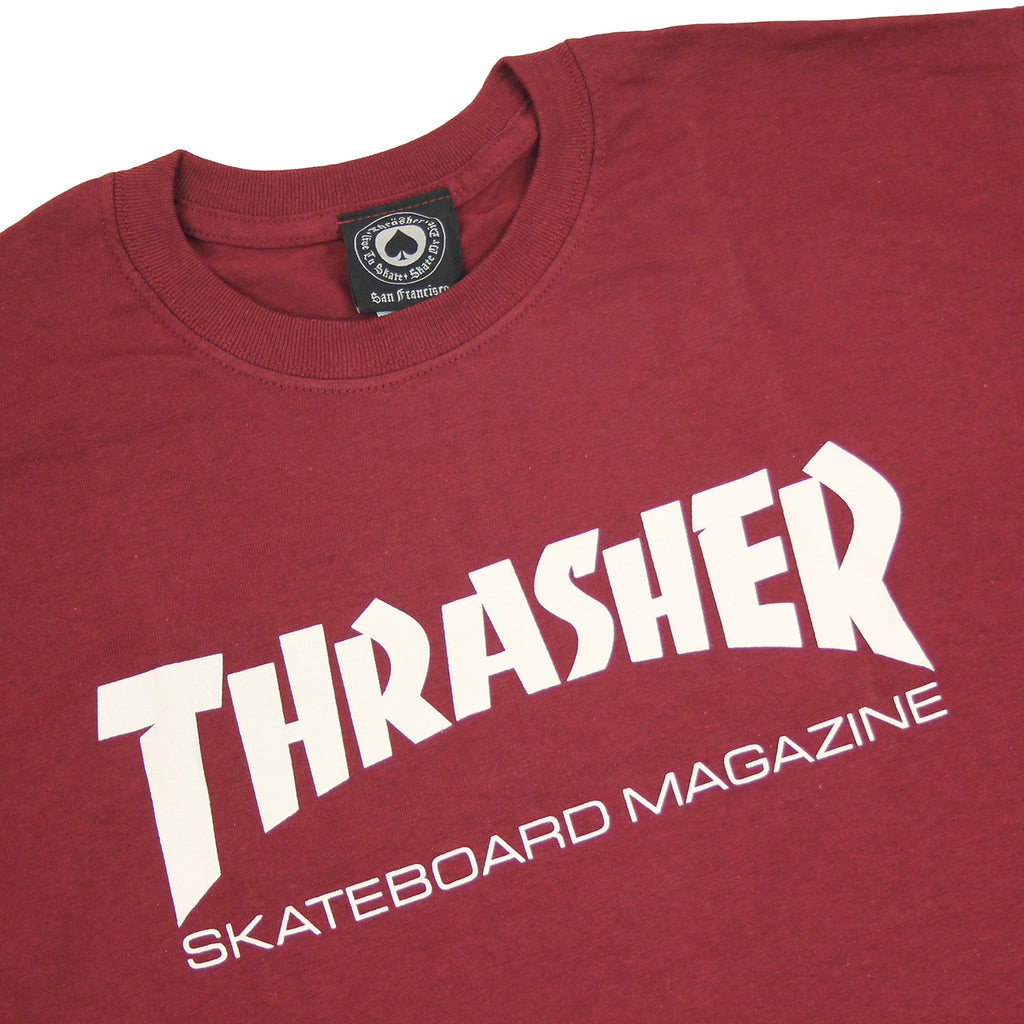 86b00174ca90 Skate Mag Logo T Shirt in Maroon by Thrasher Magazine