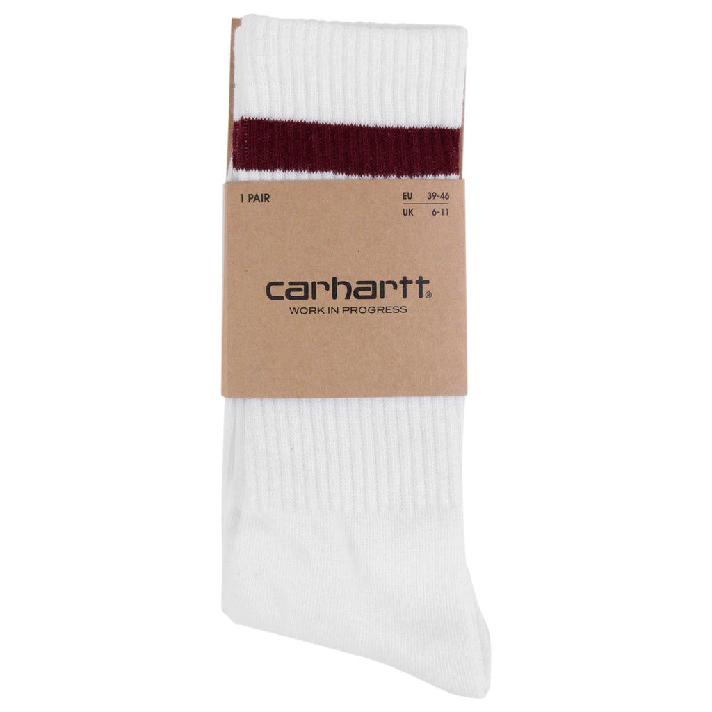 Carhartt College Socks in White / Chianti