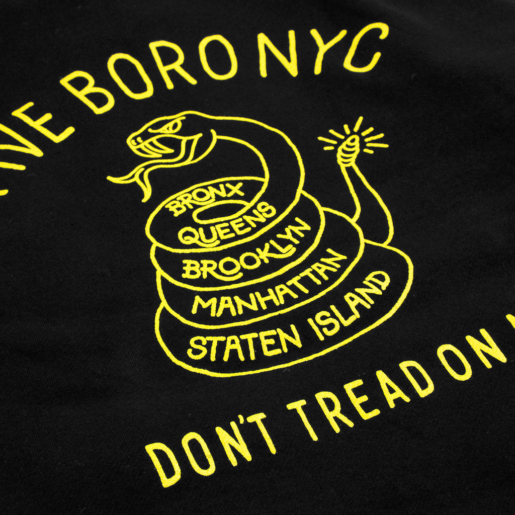 5Boro Don't Tread On Me Hoodie in Black / Yellow - Back Print