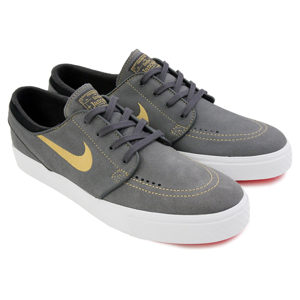 Nike SB Stefan Janoski Shoes in Anthracite / Metallic Gold / Black / Bright Crimson - Paired
