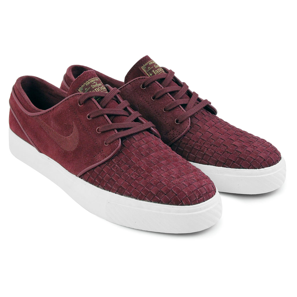 Nike SB Stefan Janoski Elite Shoes in Night Maroon / Night Maroon-Ivory-Metallic Gold - Paired