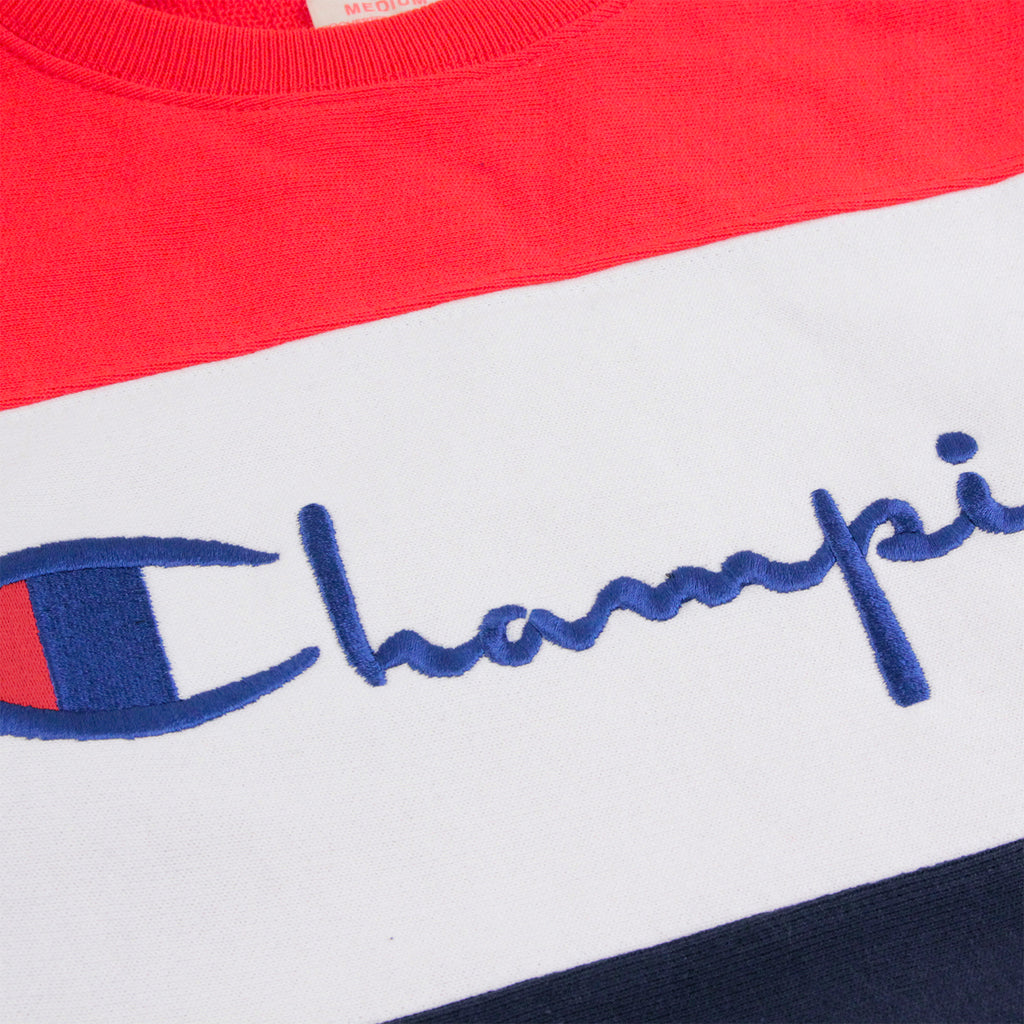 Champion 3 Panel Crew Neck Sweatshirt in Navy / White / Red - Embroidery