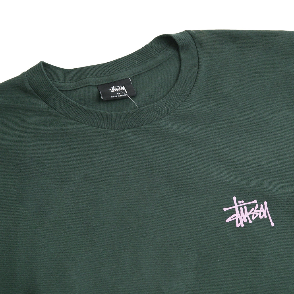 Stussy Basic Stussy L/S T Shirt in Dark Forest - Detail