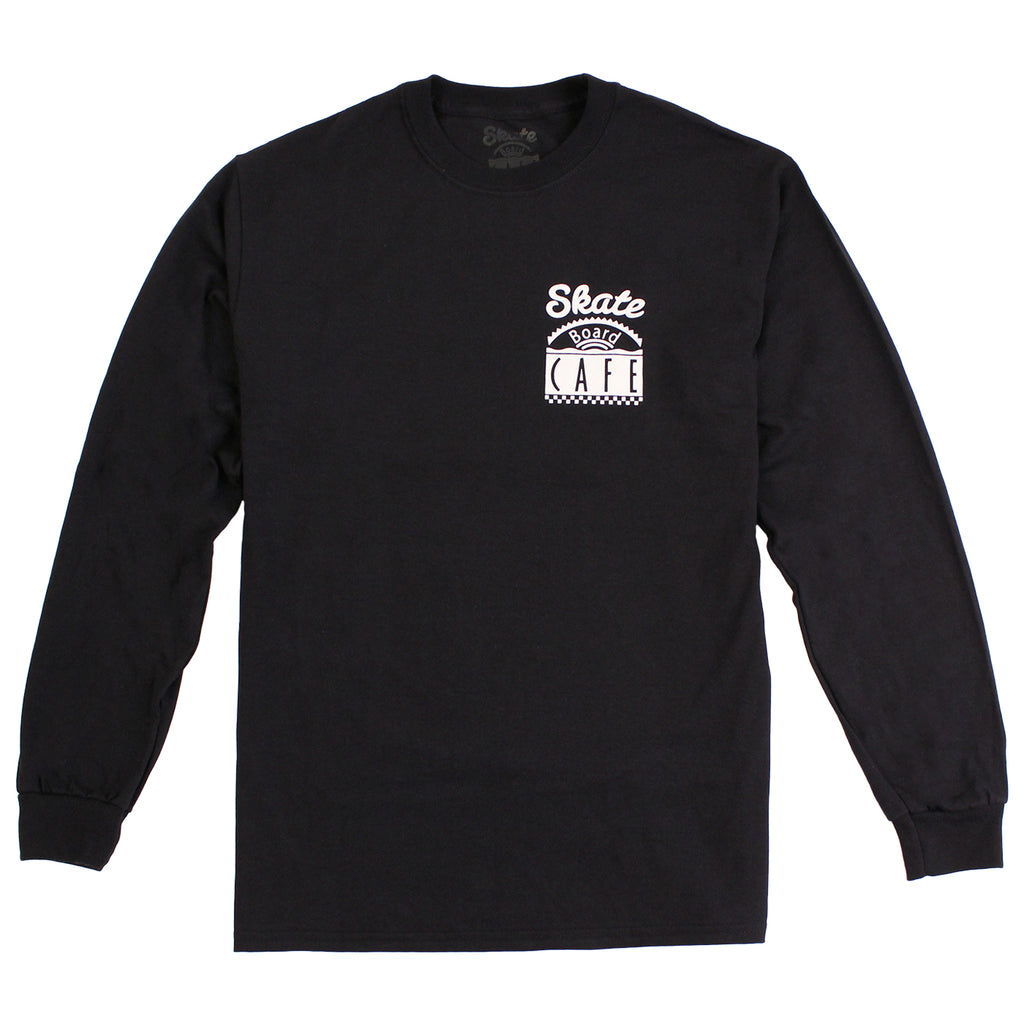 Skateboard Cafe Diner L/S T Shirt in Black - Front