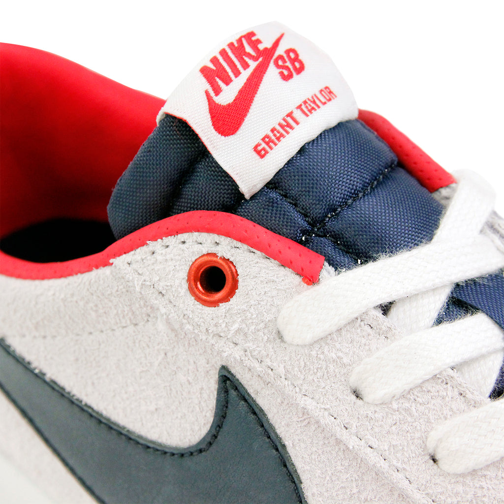 Nike SB Blazer Low Grant Taylor Shoes - Summit White / Obsidian in University Red - Laces