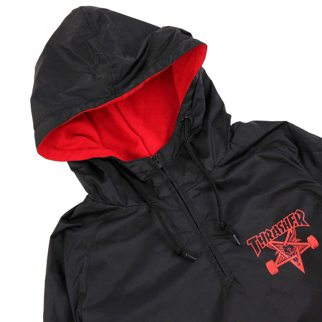 Thrasher Skategoat Coach Hooded Jacket in Black / Red - Detail