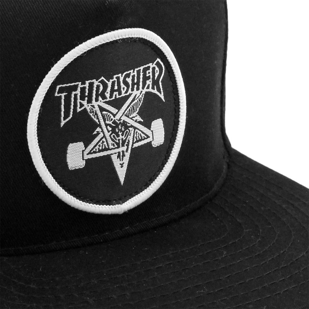 Thrasher Skategoat Snapback Cap in Black - Patch