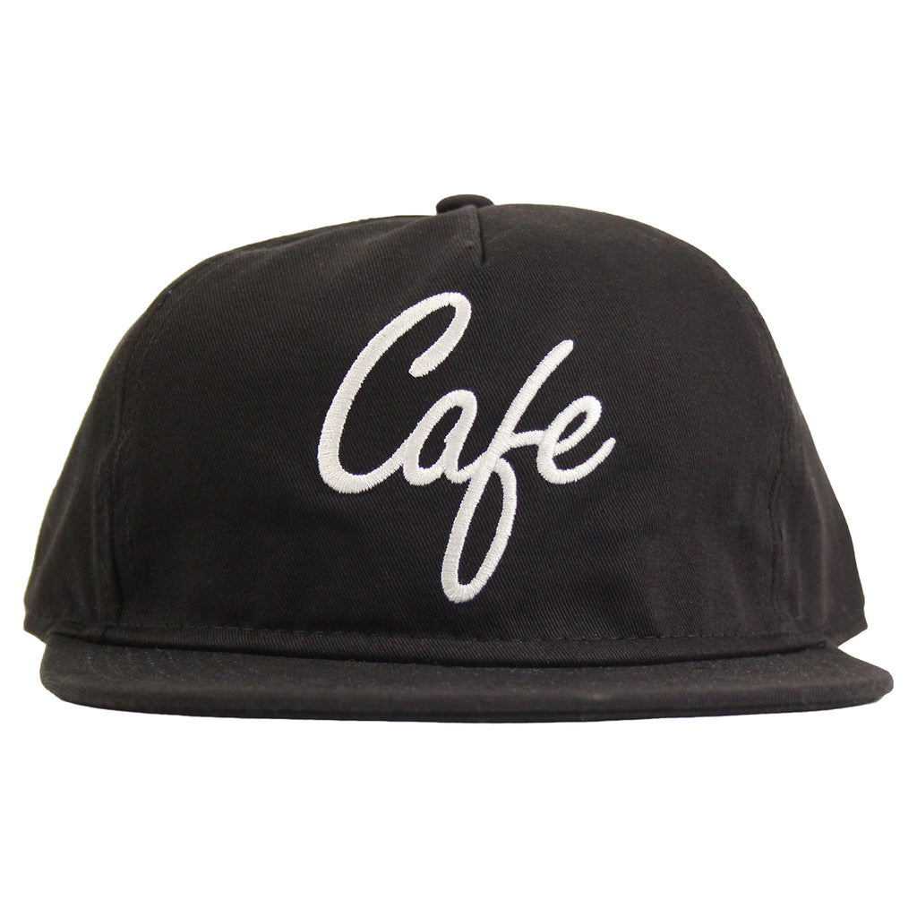 Skateboard Cafe Diner Script Deconstructed 5 Panel Cap in Black - Front