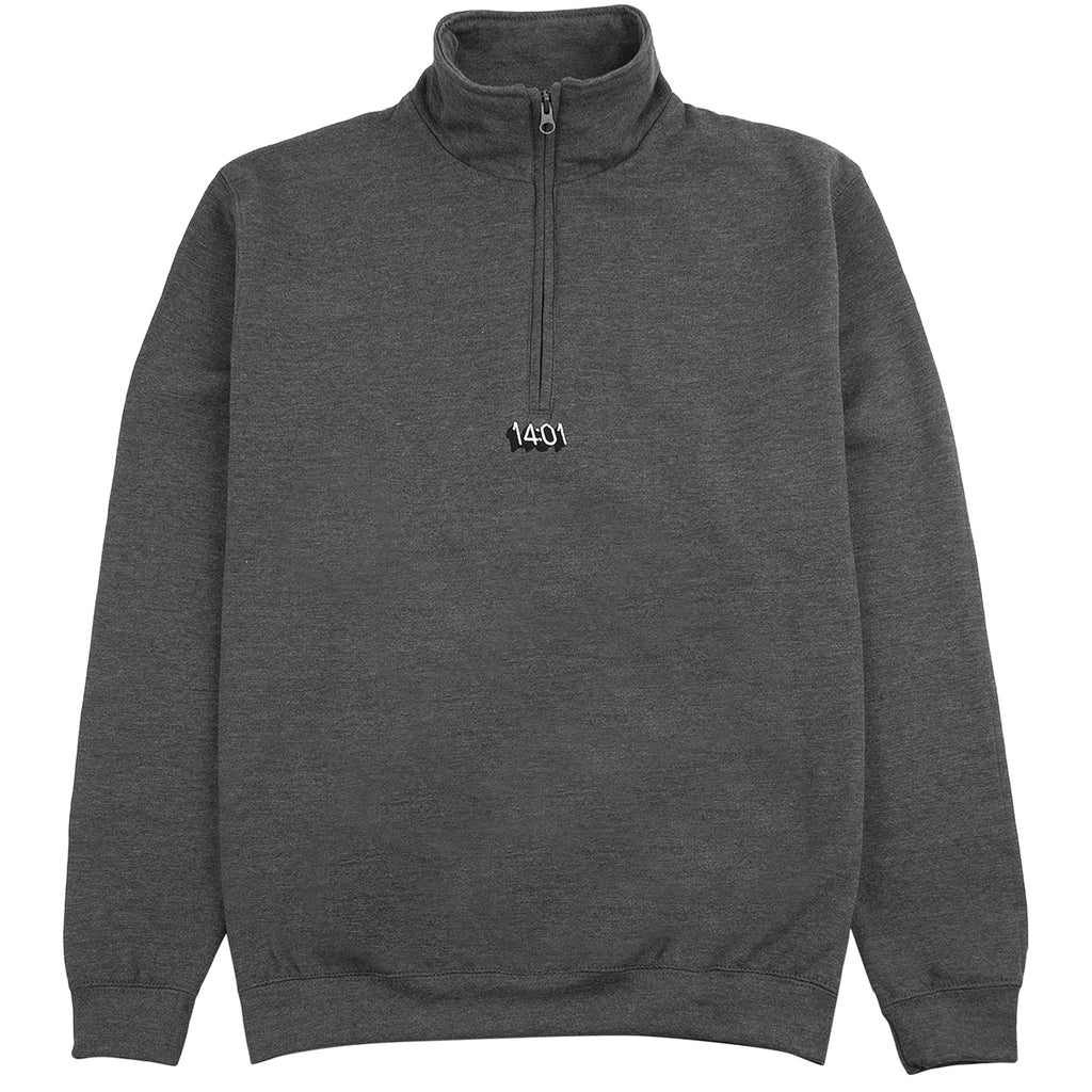 14:01 Skateboard Co Logo Quarter Zip Sweatshirt in Dark Grey Heather