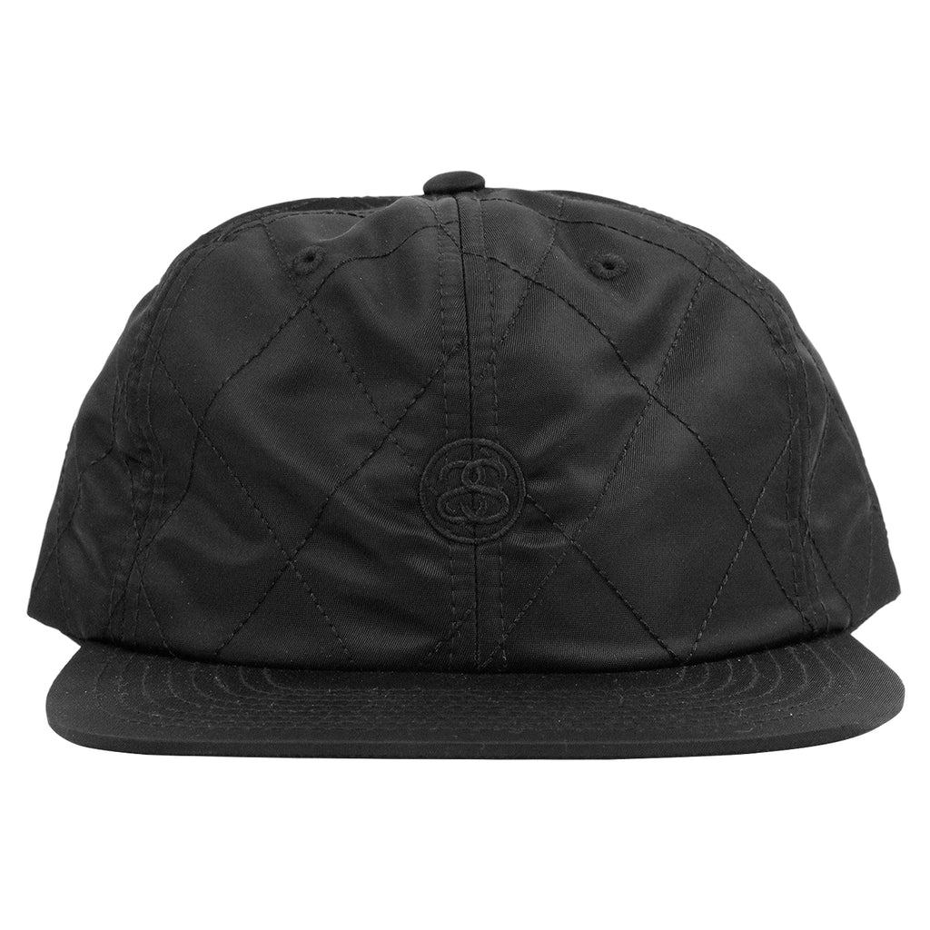 Stussy Quilted Strapback Cap in Black - Front
