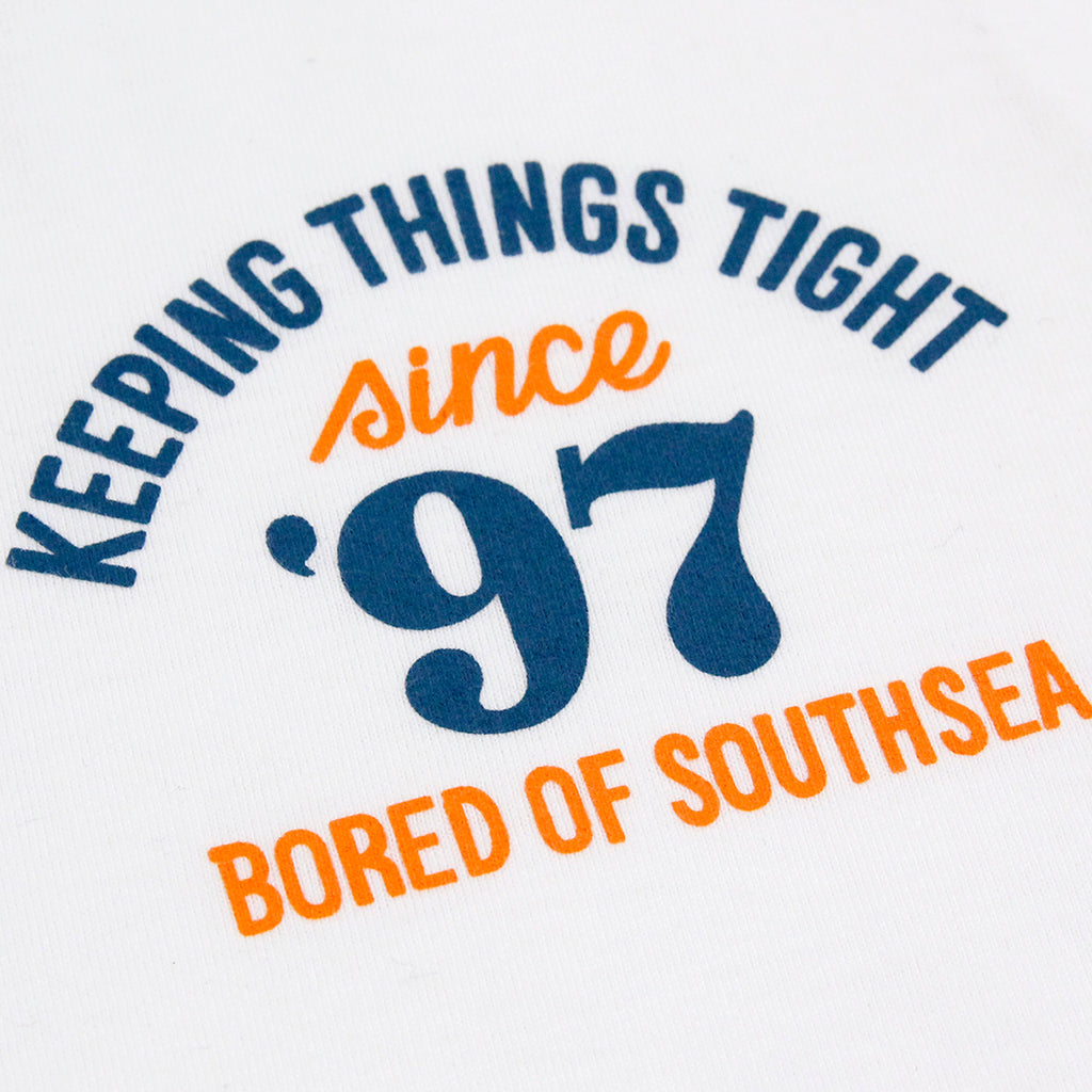 Bored of Southsea Keeping Things Tight T Shirt in White - Front detail