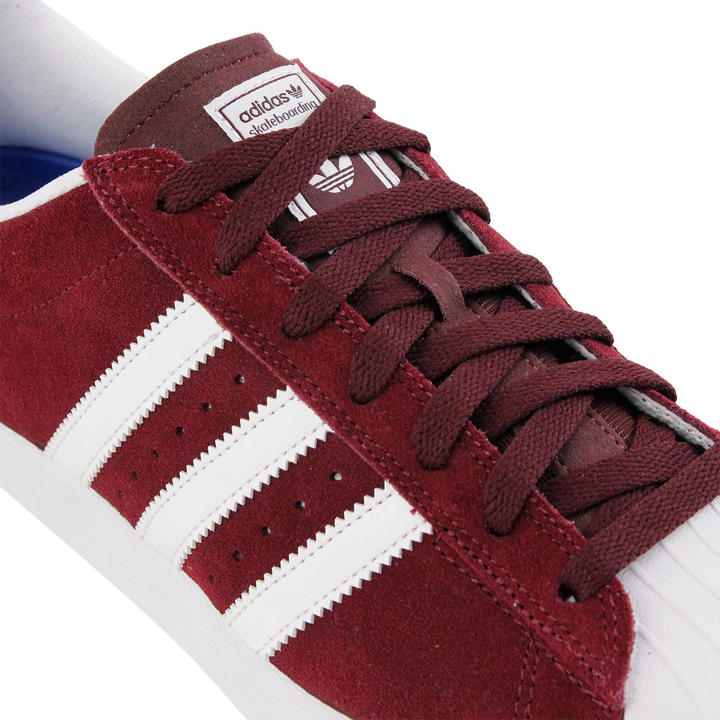 Adidas Skateboarding Superstar Vulc ADV Shoes in Maroon / FTW White / FTW White - Lace