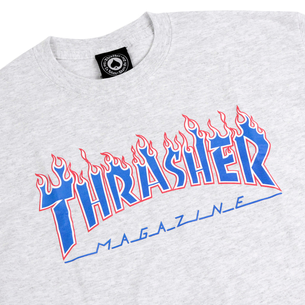 Thrasher Patriot Flame T Shirt in Ash Grey - Detail