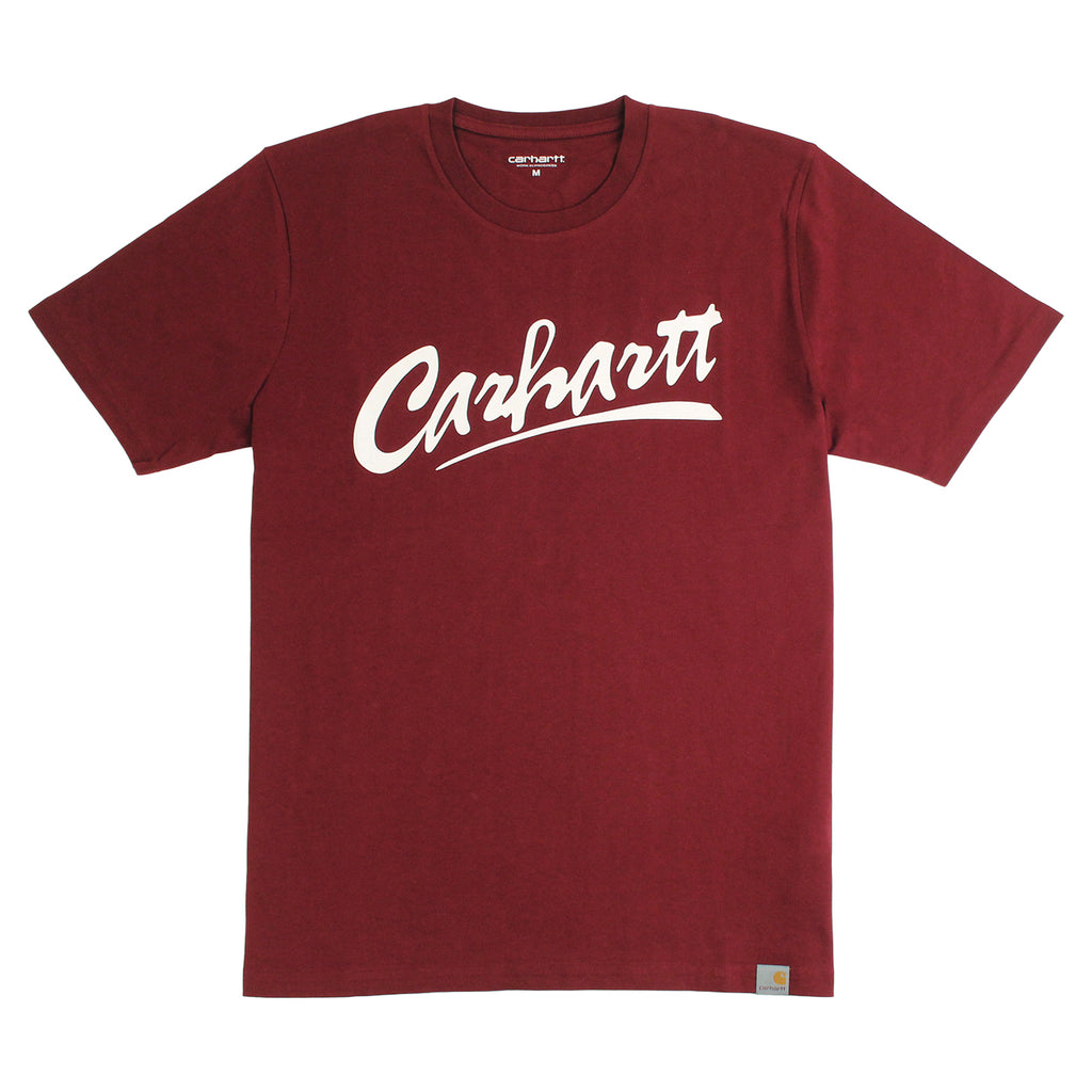 Carhartt Brush T Shirt in Cranberry / White