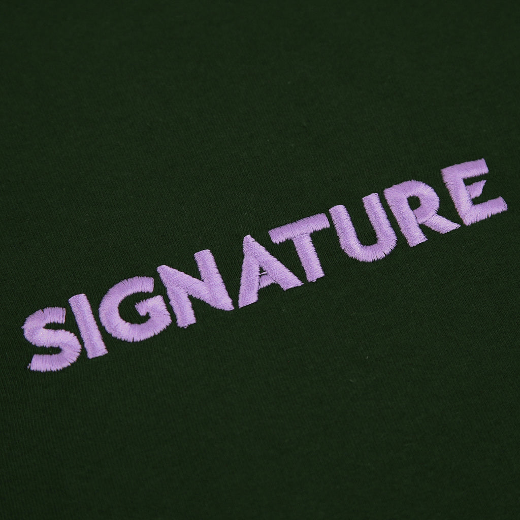 Signature Clothing Classic Logo Embroidered T Shirt in Forest Green / Lilac - Embroidery