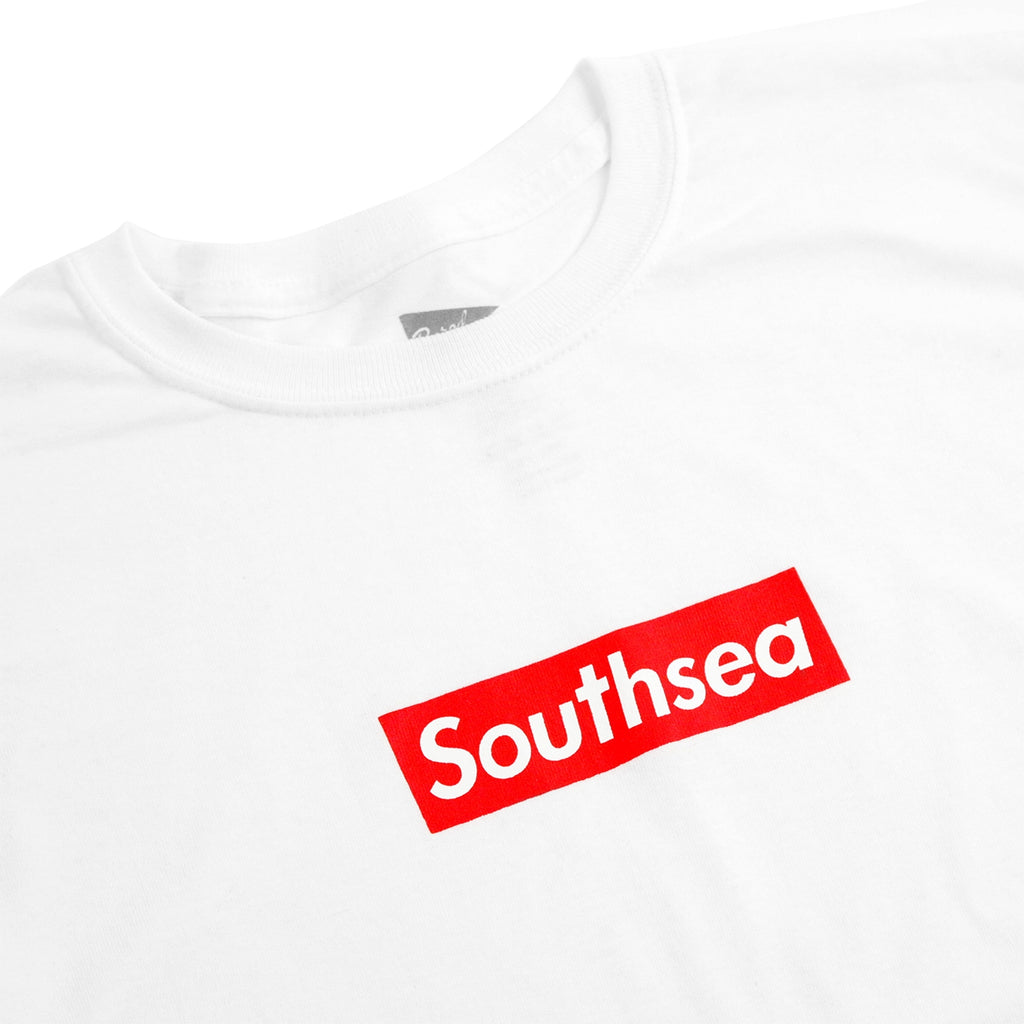 "Bored of Southsea ""Southsea"" Kids T Shirt in White / Red Box - Detail"