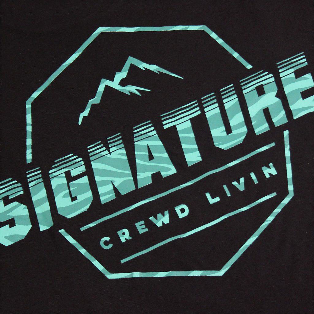 Signature Clothing Jungle Mach Peak T Shirt - Black / Teal - Back print