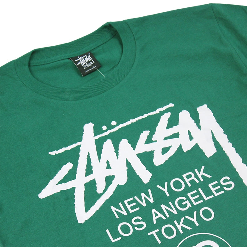 Stussy World Tour T Shirt in Dark Green - Detail