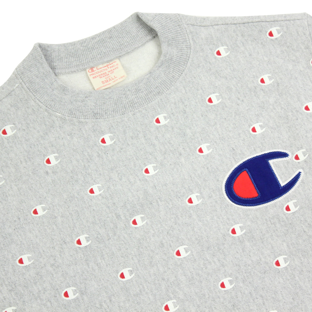 Champion All Over Crew Sweatshirt in Oxford Grey - Detail