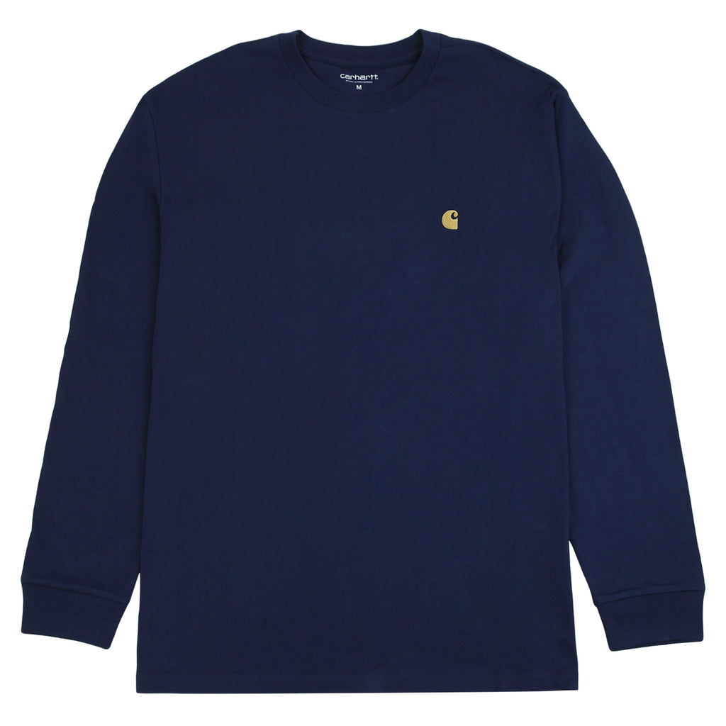 Carhartt L/S Chase T Shirt in Metro Blue / Gold