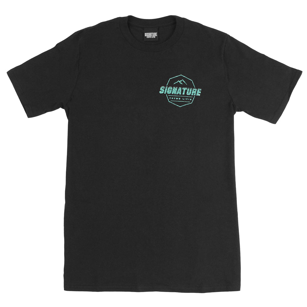 Signature Clothing Jungle Mach Peak T Shirt - Black / Teal - Front
