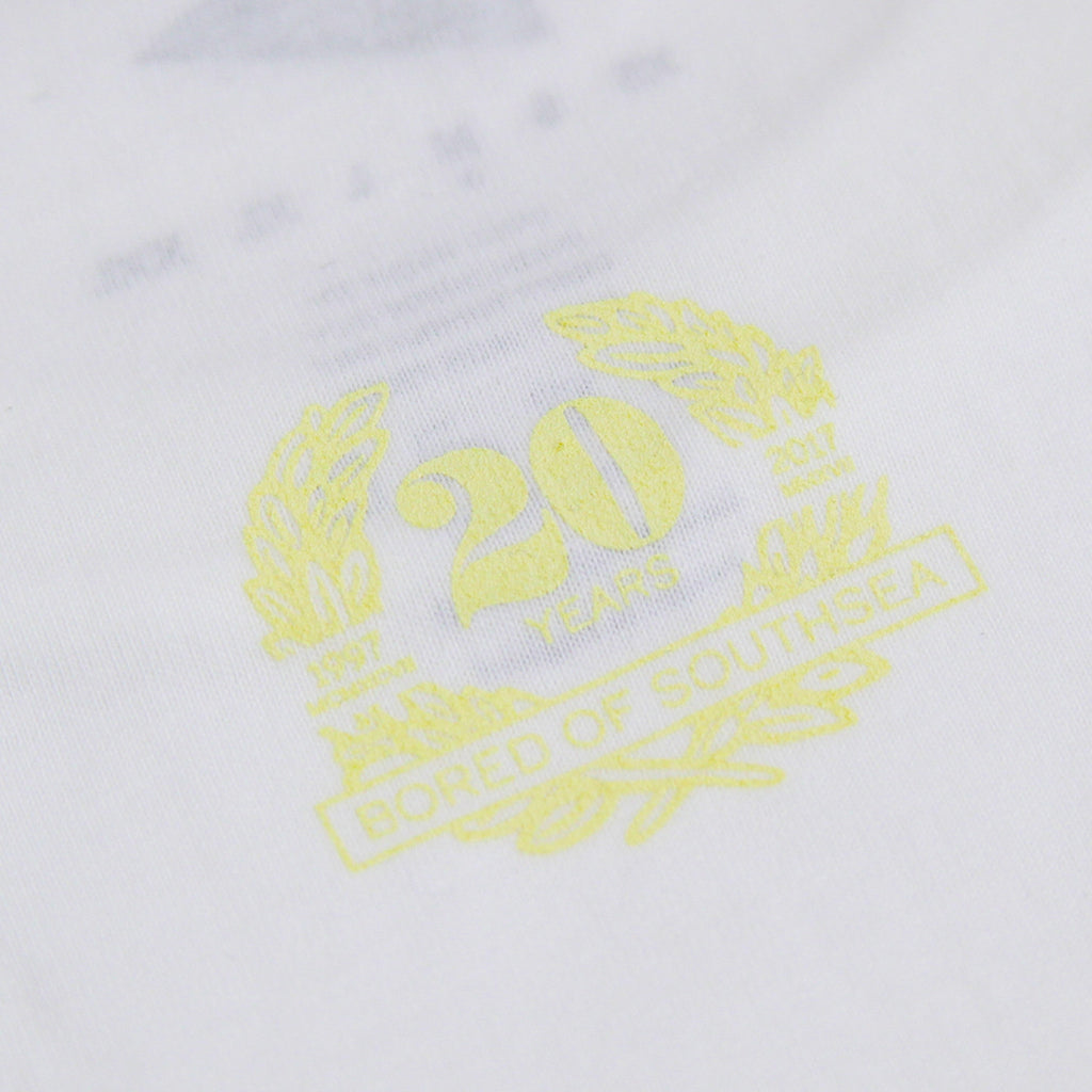 Southsea Bronx Strong Island T Shirt in White / Pastel Yellow - Back Detail
