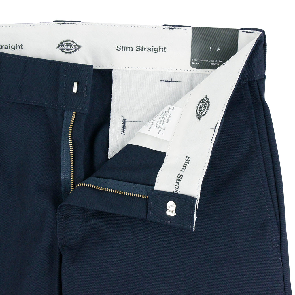 Dickies 873 Slim Straight Work Pant in Navy - Unzipped