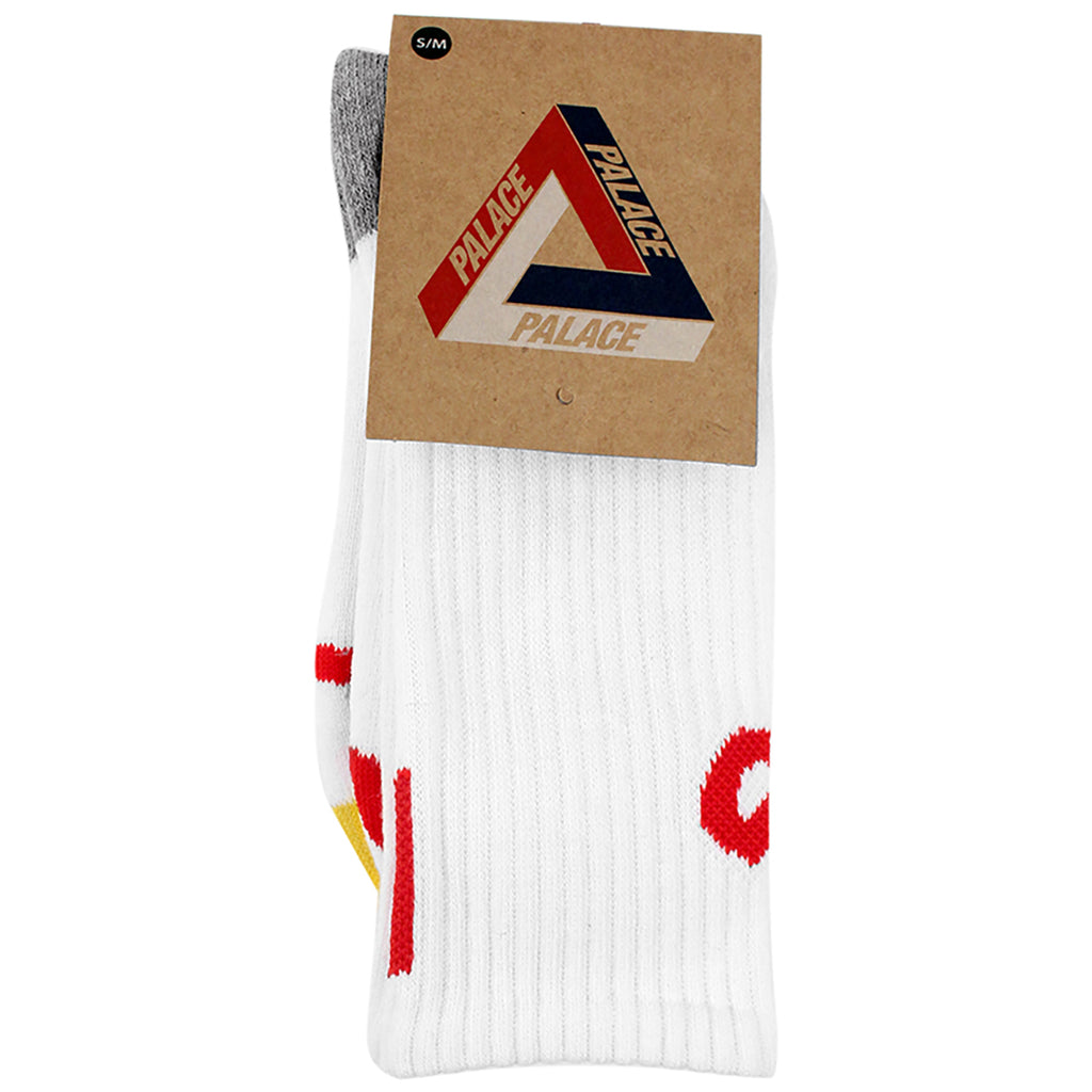 Palace P Allover Socks in White / Blue / Red - Packaging
