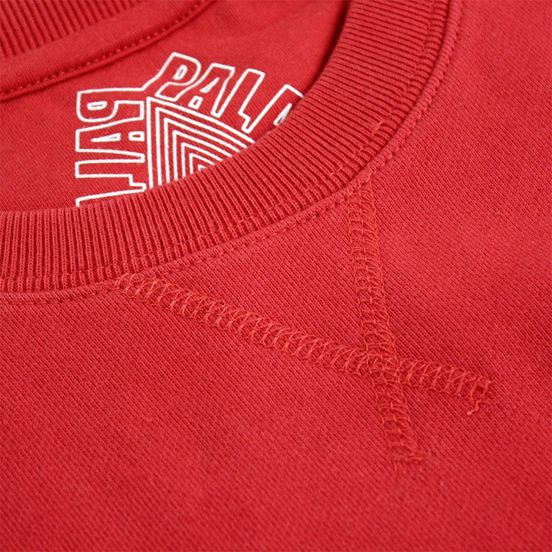 Palace Lips Pocket Crew in Red - Stitching