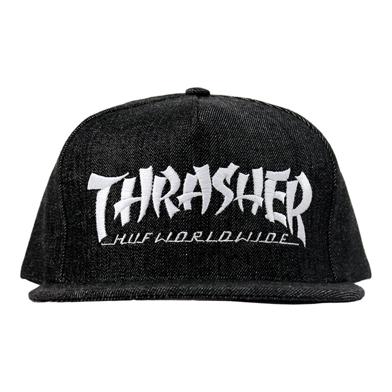 HUF x Thrasher Asia Tour Snapback Cap in Black