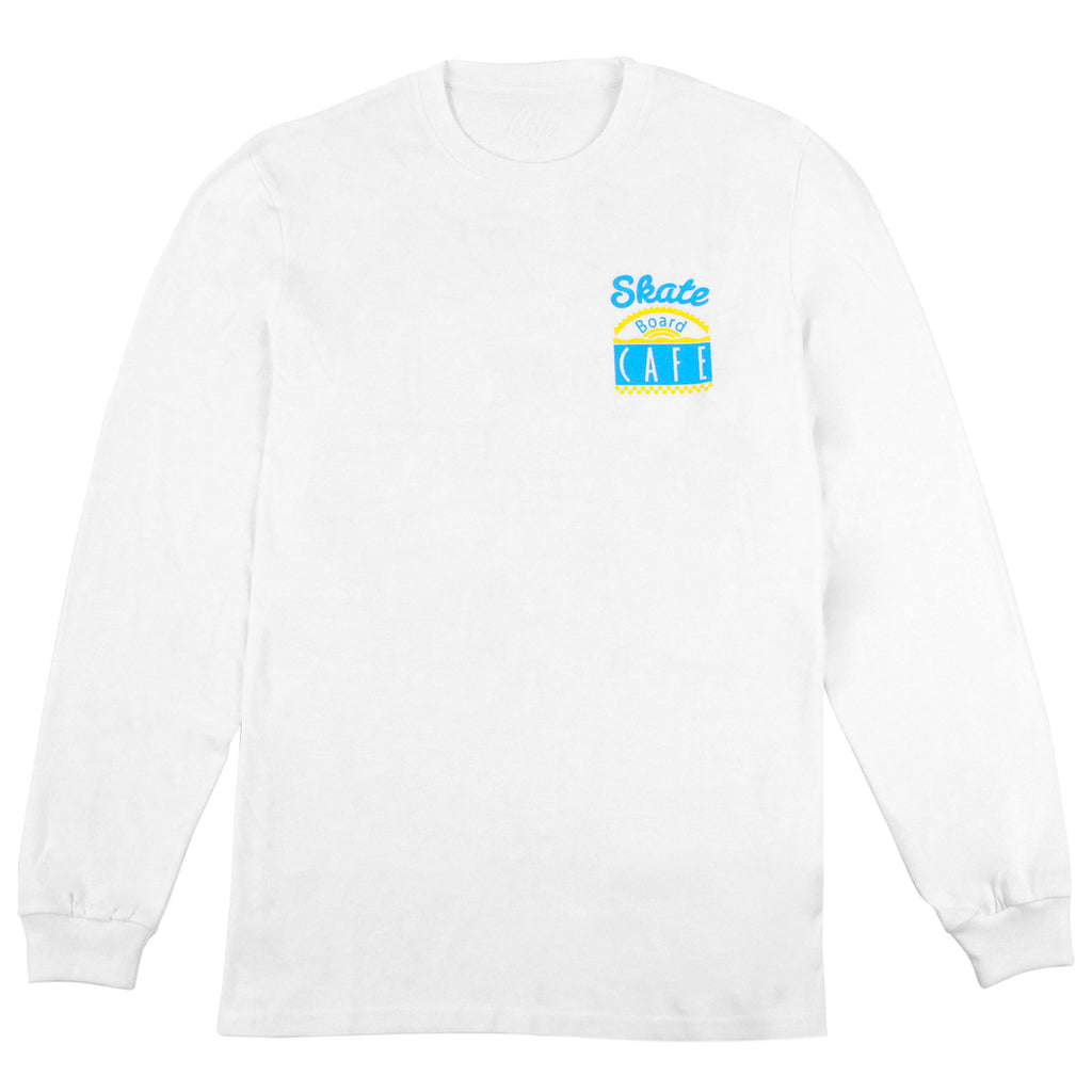 Skateboard Cafe Diner L/S T Shirt in White / Blue / Yellow