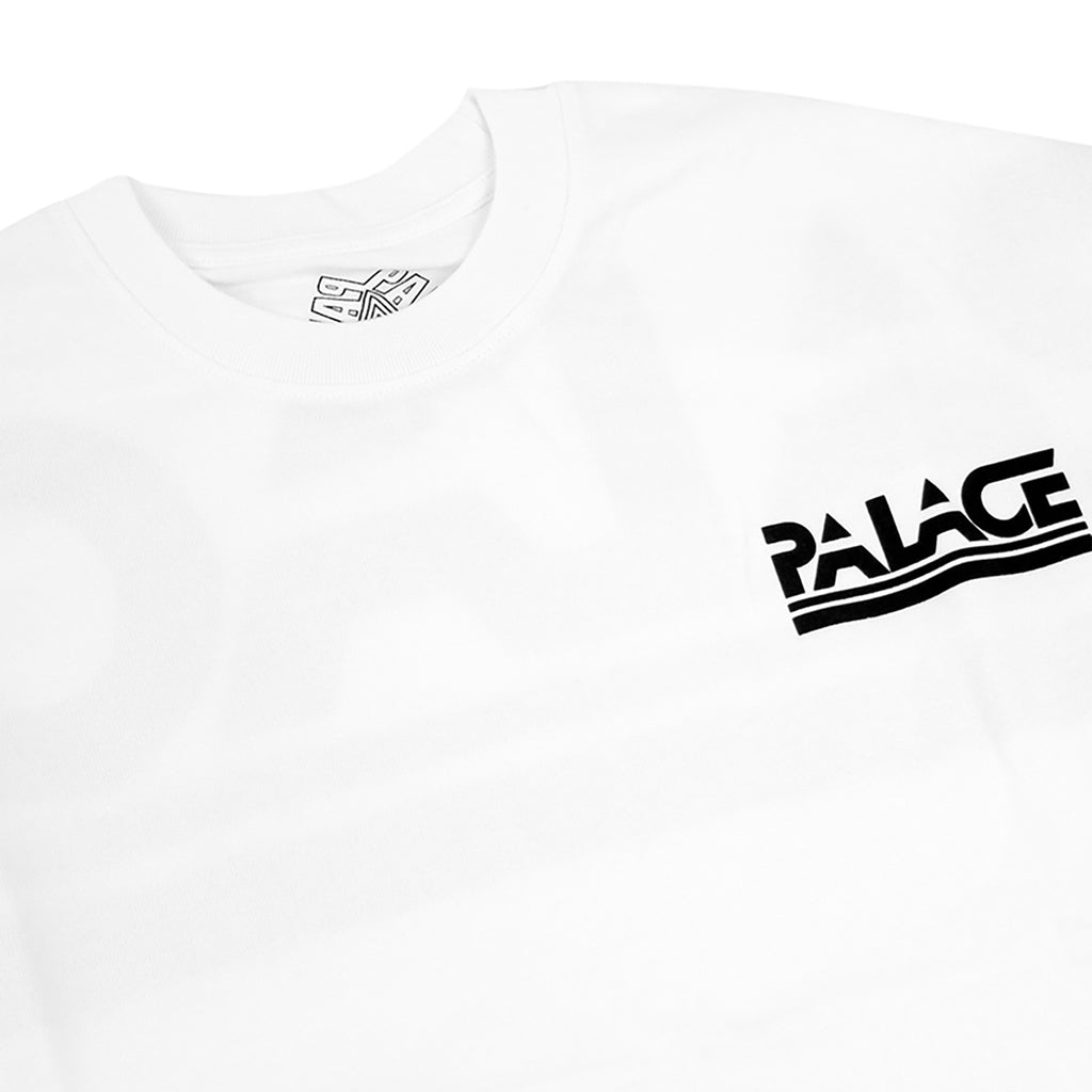 Palace Lightweight Crew Sweatshirt in White - Front detail