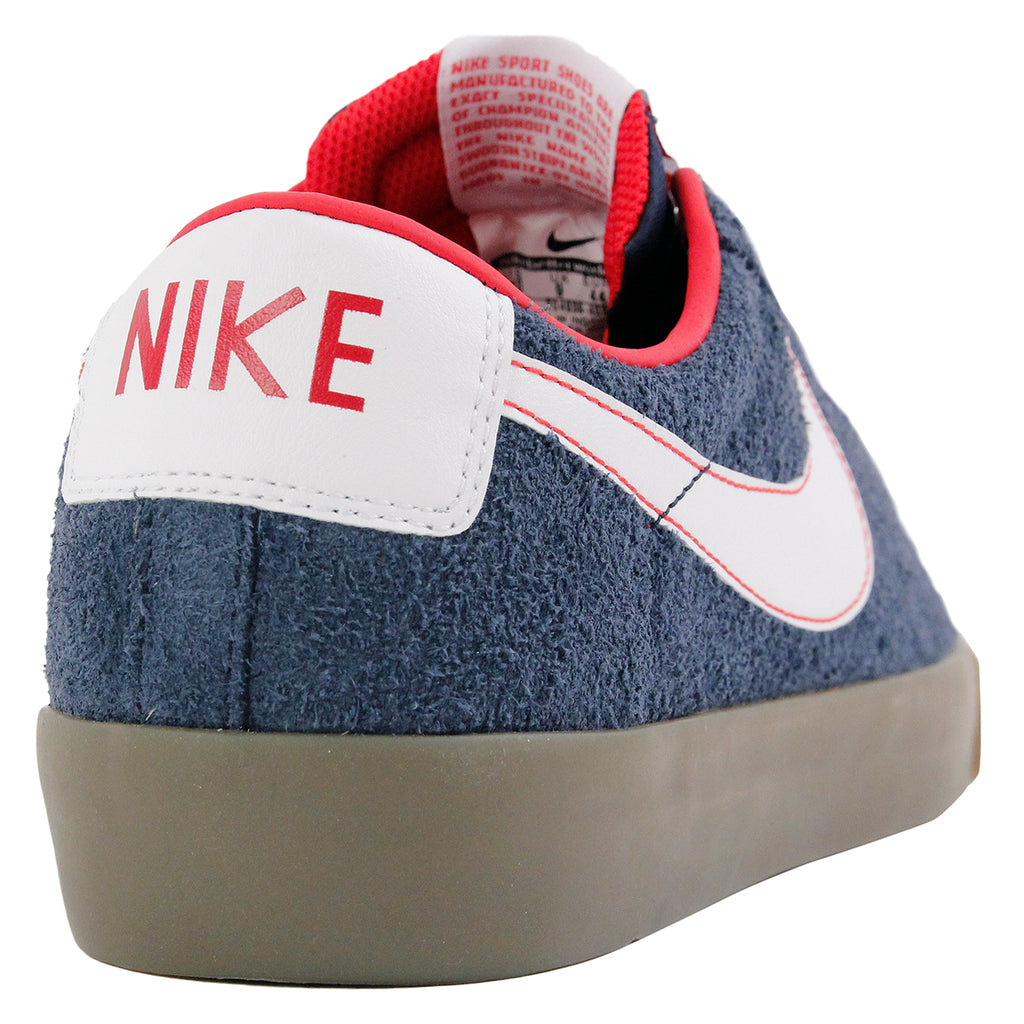 Nike SB Blazer Low Grant Taylor Shoes in Obsidian / White-University Red-Gum Light Brown - Heel