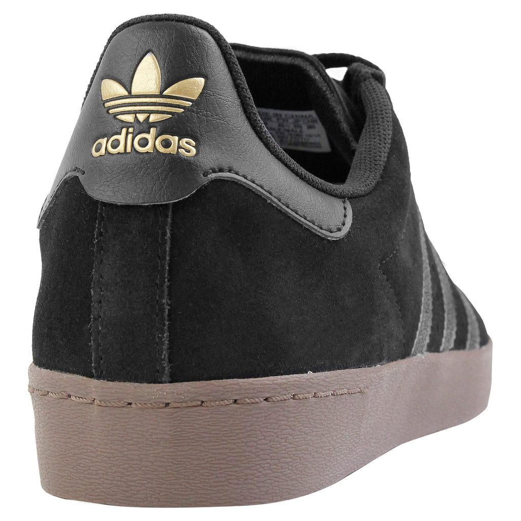 Adidas Skateboarding Superstar Vulc ADV Shoes in Black / Gold Metallic / Gum - Heel
