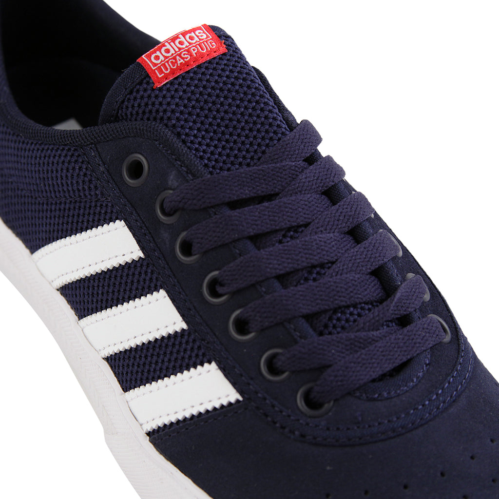 Adidas Lucas Premiere ADV Shoes in Collegiate Navy / White / Scarlet - Laces