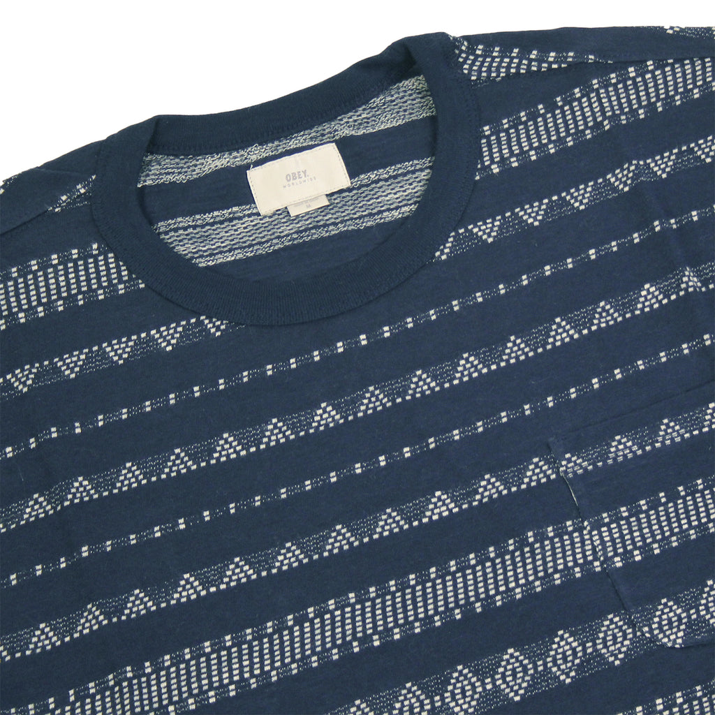 Obey Clothing Mateo T-Shirt in Indigo - Detail