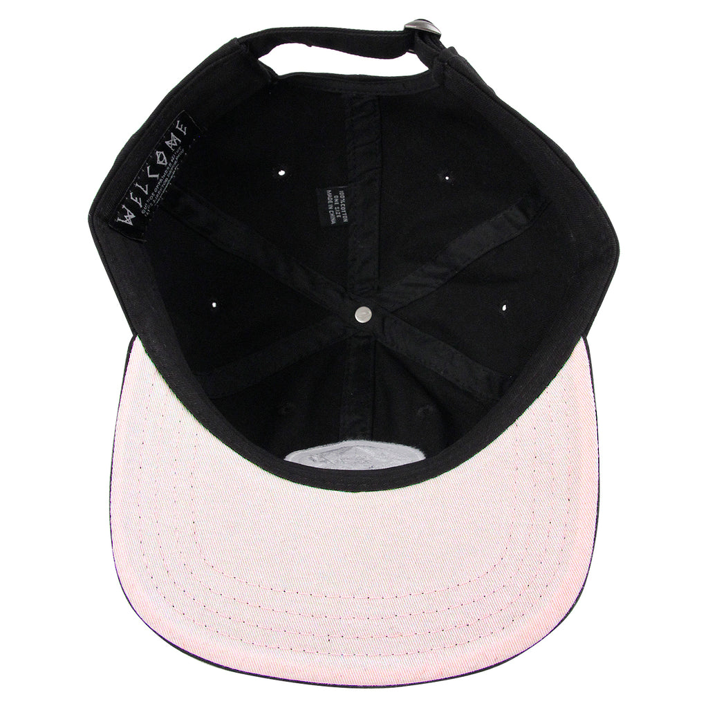 Welcome Skateboards Talisman Unstructured Snapback Cap in Black - Inside